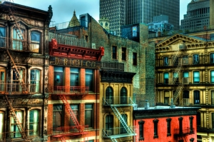 Buildings in Tribeca neighborhood of New York City.