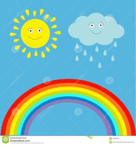 cartoon-sun-cloud-rain-rainbow-set-children-funny-il-illustration-vector-39964878